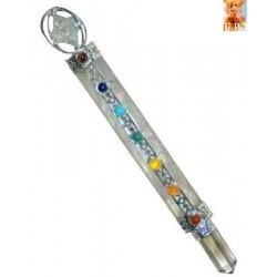 varita de cuarzo cristal y chakras 18,5cm